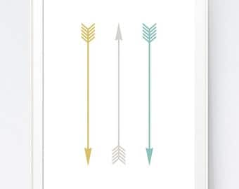 3 Arrows Print, Yellow Turquoise and Grey Arrows, Mustard Gray and Teal Minimal printable, Modern Arrows Wall Decorations, INSTANT DOWNLOAD