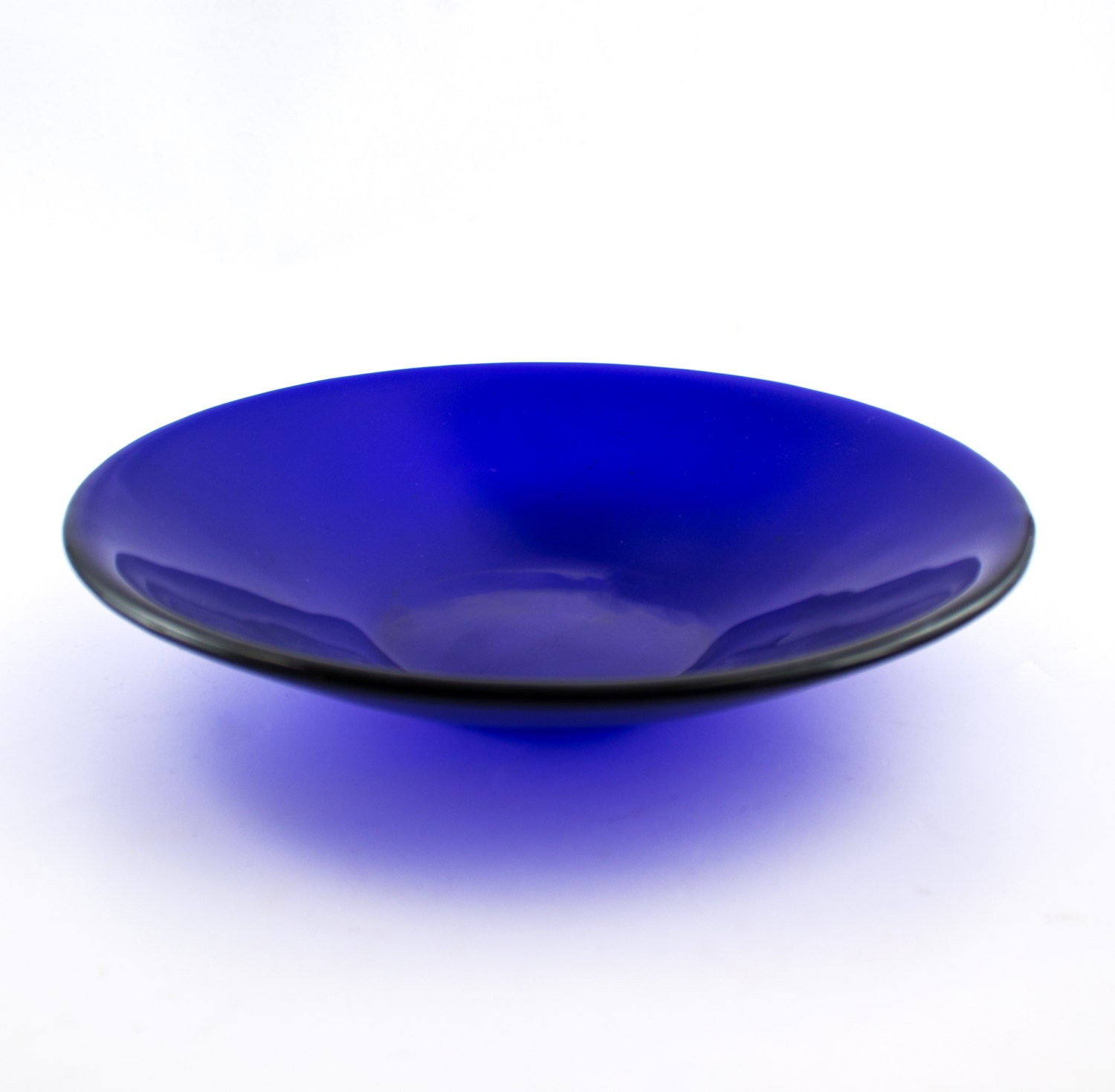 Cobalt Blue Glass Bowl Kitchen Decor Fused Glass Serving