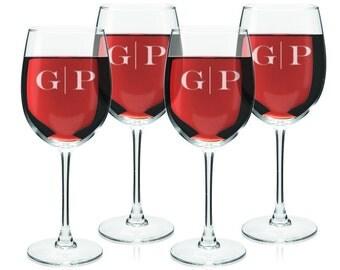Monogrammed Wine Glasses - Set of 4