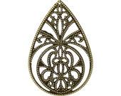 10pc 65x44mm antique bronze filigree wraps-9853