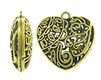 2pc 40mm antique gold finish metal heart pendant-10028