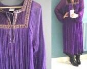 1970s Indian Metallic Gauze Peasant Dress in Purple
