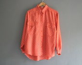 Red Silk Polka Dot Shirt M/L