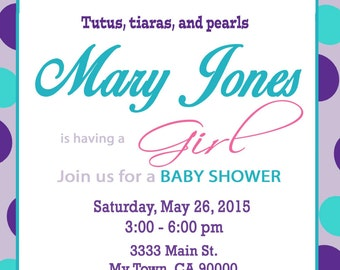 Tutus and Tiaras Baby Shower Invitation-  Purple and Teal diy Print at Home