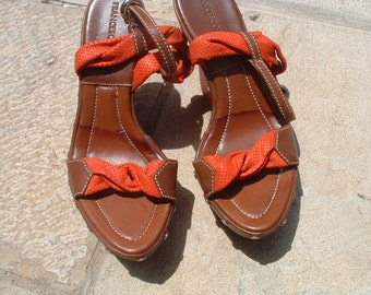 free shipping FRANCESCOBIASIA sandals  made in Italy circa 1980's pre-owned size 36