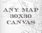Canvas Art, Wall Art Canvas, Map Canvas, Map Art, Beach Canvas, 30x30, Custom Map Canvas, Gallery Wrap, Canvas Wall Art , Hometown City Map