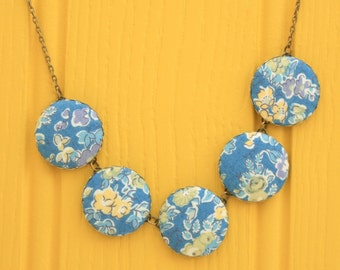 Liberty of London Five Button Fabric Necklace in Tatum Blue