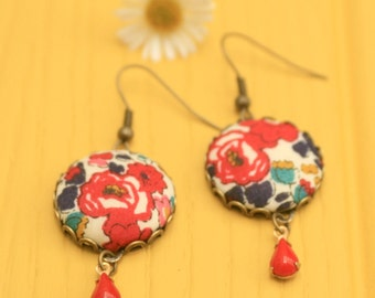 Liberty Fabric Earrings in Betsy Ann Red with Red Glass Drop