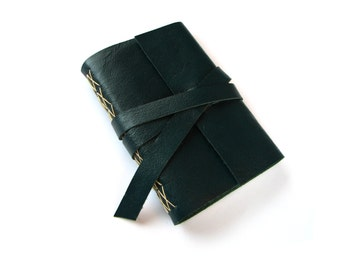 "Leather Journal or Sketchbook in Teal Leather 4""x6"""