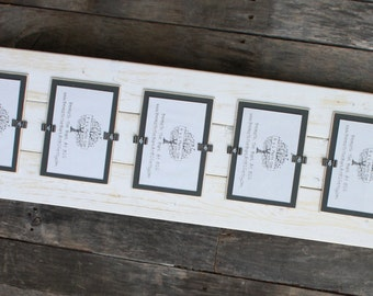 Picture Frame - Distressed Wood - Holds 5 - 4x6 Photos - White & Gray