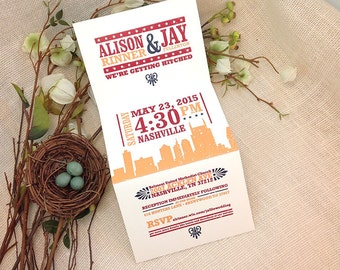 Hatch Show Inspired Nashville Skyline Trifold Wedding Invitation: Get started deposit or DIY Payment