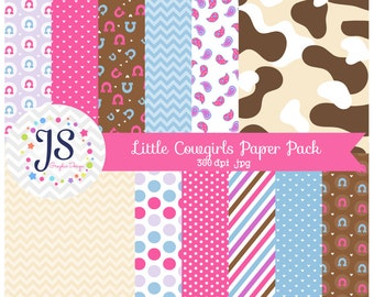 INSTANT DOWNLOAD, cowgirl digital paper pack or background for personal or commercial use
