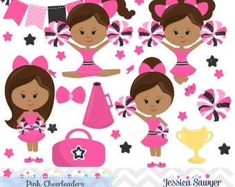 INSTANT DOWNLOAD,  Dark Skin Pink Cheerleader Clipart and Vectors for personal and commercial use