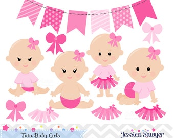 INSTANT DOWNLOAD - Baby Girl Clipart and Vectors for Tutu Baby Shower or Birthday. Personal and Commercial Use