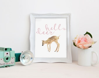 Hello Deer Watercolor Deer 8x10 Printable