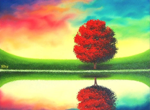 Colorful Art Print of Contemporary Landscape, Red Tree Artwork, Multicolored Modern Home Decor, Giclee Print of Nature Art, Rainbow Wall Art