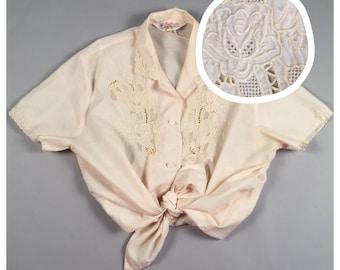 60s vintage creme ivory crochet lace short sleeve button down blouse sz large