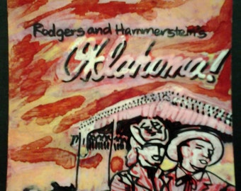 "sale 4""x4"" RODGERS & HAMMERSTEIN'S OKLAHOMA original kimartist movie music art brut cartoon pop raw pink yellow black white sfa tile ooak"