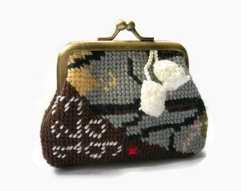 Handmade Embroidered Coin Purse. Mixed media Purse with Tapestry Panel. Small frame purse.
