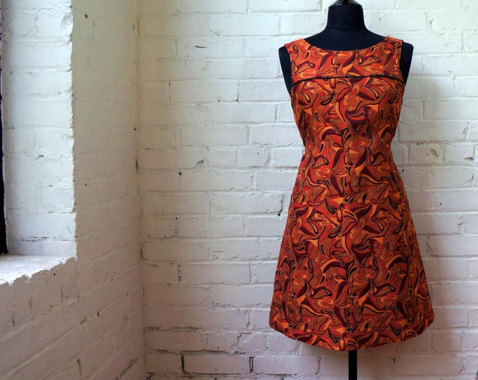 Fiery Fall Dress 1960s Vintage Paisley Brocade Pull Over Mini SMALL Tailor Made Sleeveless Rust Maroon Red Gold Black Tapestry Autumn Mod