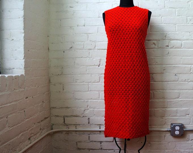 Vintage Dress 1960s Scarlet Vixen Peek a Boo Bobble Knit MEDIUM Red See Through Sleeveless Sexy Stretchy Sheath Cover Up Sears Roebuck USA