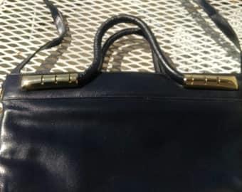 Navy Leather Top Handled Handbag