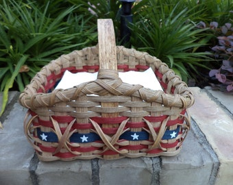 Americana Flag 4th of July Patriotic Stars and Stripes Old Glory Napkin Basket Handwoven Basket