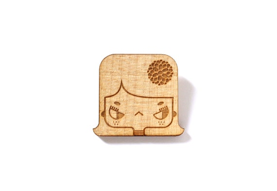 Girl brooch - Lily pin - character with flower in the hair - romantic jewelry - illustrated graphic jewellery - lasercut maple wood