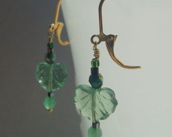 Czech Glass Green Leaf Earrings Swarovski Crystals