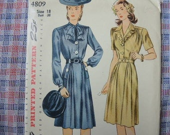 vintage 1940s Simplicity sewing pattern 4809 dress with tie collar size 18 bust 36