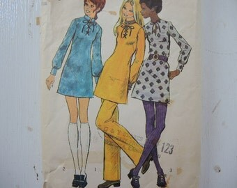 vintage 1970s simplicity sewing pattern 5085 misses mini dress and pants size 12