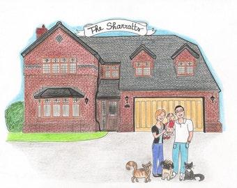 Custom House Portrait + Family Portrait. Custom house and family drawing. House with family and pets.Personalized gift idea.