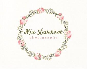 floral logo wreath flowers premade logo - Logo Design #113