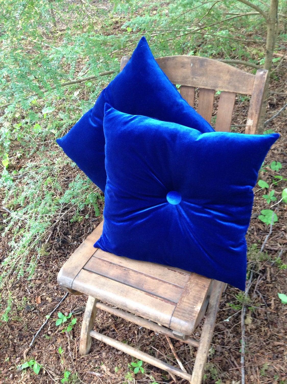 Blue Velvet Pillow Set Pair Royal Blue Cushions Square By