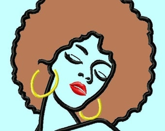 Woman with Afro Applique Embroidery Designs 3 sizes INSTANT DOWNLOAD