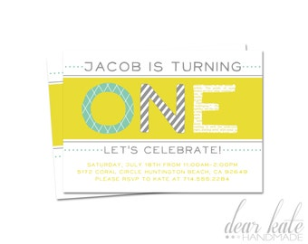 CUSTOM First Birthday Party Invitation- Yellow Teal Gray Boy