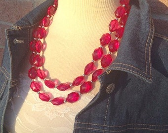 Raspberry Double Strand statement necklace - big beaded chunky jewelry