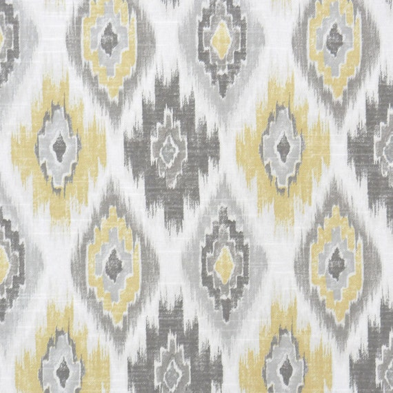 Grey Yellow Ikat Upholstery Fabric Yellow Ikat Cotton Curtain Material Grey White Ikat Home