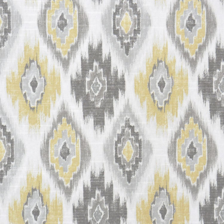 Grey Yellow Ikat Upholstery Fabric Yellow Ikat Cotton