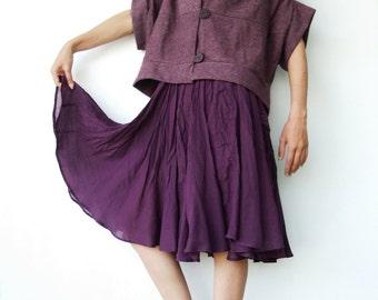 NO.85 Dusty Purple Cotton-Blend Cocoon Top, Trendy Unusual Jacket, Women's Jacket