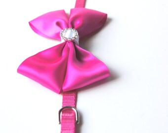 Mini Hot Pink Collar with Satin Bow for Dog or Cat
