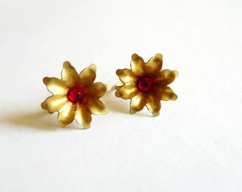 Gold with Red Rhinestone Vintage Screw Back Earrings