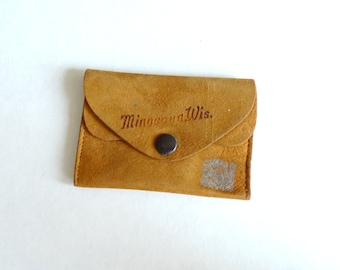 Minocqua Wisconsin Suede Coin Purse and Card Holder Wallet