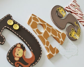 Lambs and Ivy Safari Express Themed Wooden Letters for Nursery or Bedroom