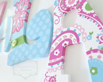 Pink and Blue Paisley Brooklyn Hand Painted Personalized Nursery Letters