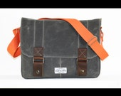 SALE - Contemporary Waxed Canvas Laptop Messenger bag - cross body bag handmade by Alex M Lynch - LB0003