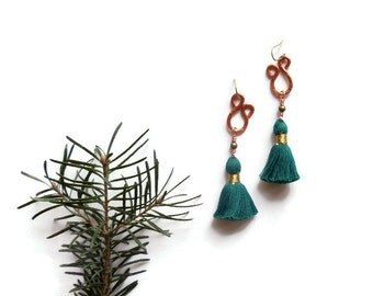 teal tassel earrings // bohemian copper jewelry