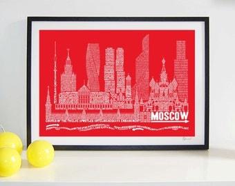 Moscow Skyline Typography Print