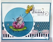 CUTE Handmade Greeting Card using Penny Black Mouse on Water Lily - all occasion card by HoneyblossomDesigns