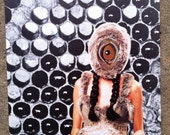 """Abstract collage. Surreal art. """"I see you."""" Analogue collage. Physical collage. Outsider art. Lowbrow art. Weird."""
